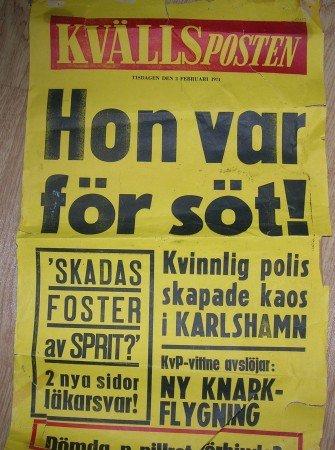 Kvällspostens löpsedel 2 febr 1971