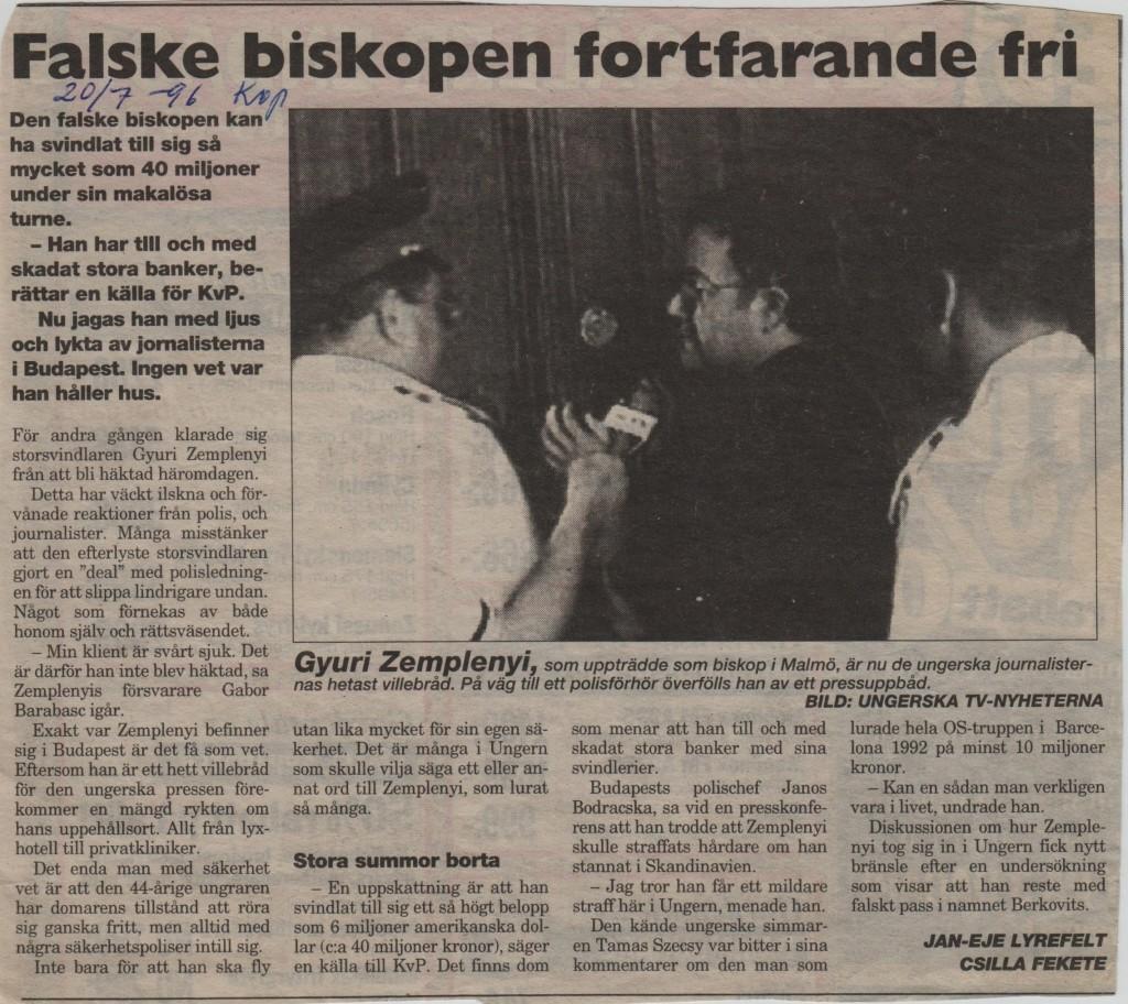 Ärkebiskopen Kvällsposten 20 juli 1996