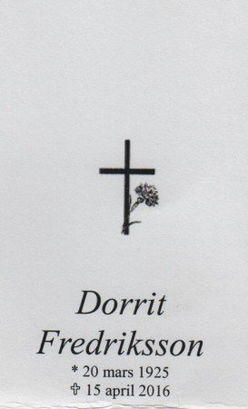Dorrit Fredriksson Begravning